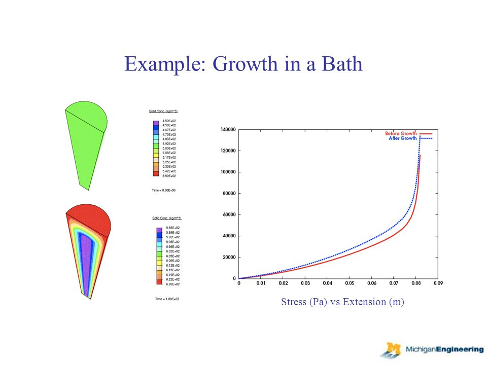 Example: Growth in a Bath Stress (Pa) vs Extension (m)