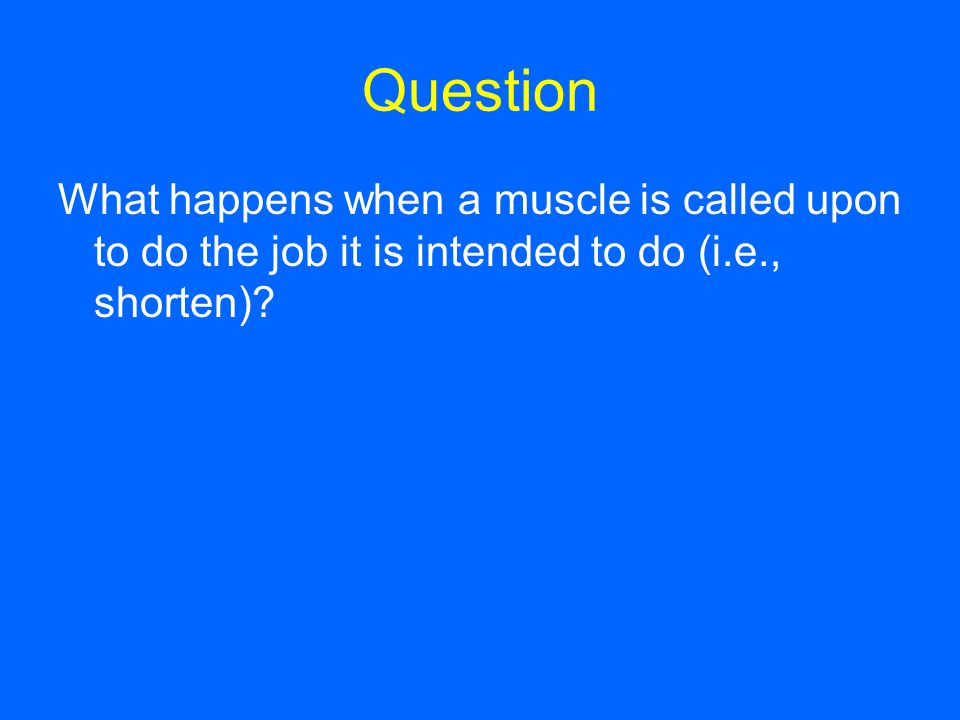 Question What happens when a muscle is called upon to do the job it is intended to do (i.e., shorten)?