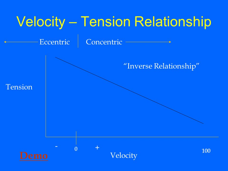 "Velocity – Tension Relationship Tension Velocity 0 100 ConcentricEccentric - + ""Inverse Relationship"" Demo"