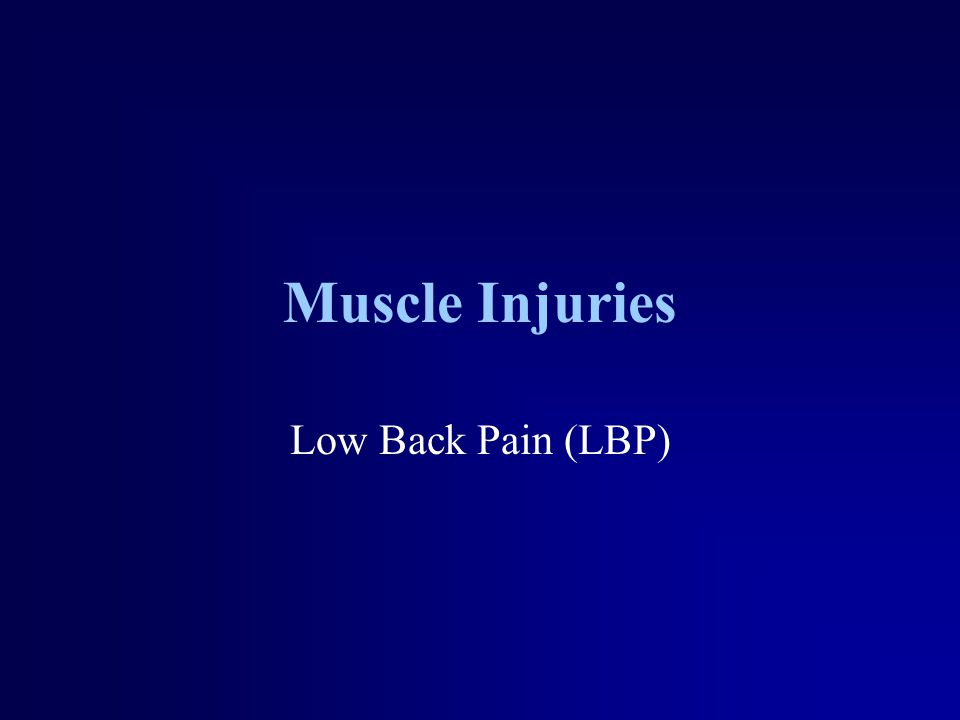 Muscle Injuries Low Back Pain (LBP)