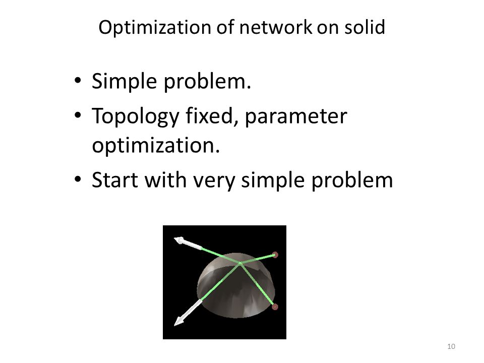 Optimization of network on solid Simple problem. Topology fixed, parameter optimization.