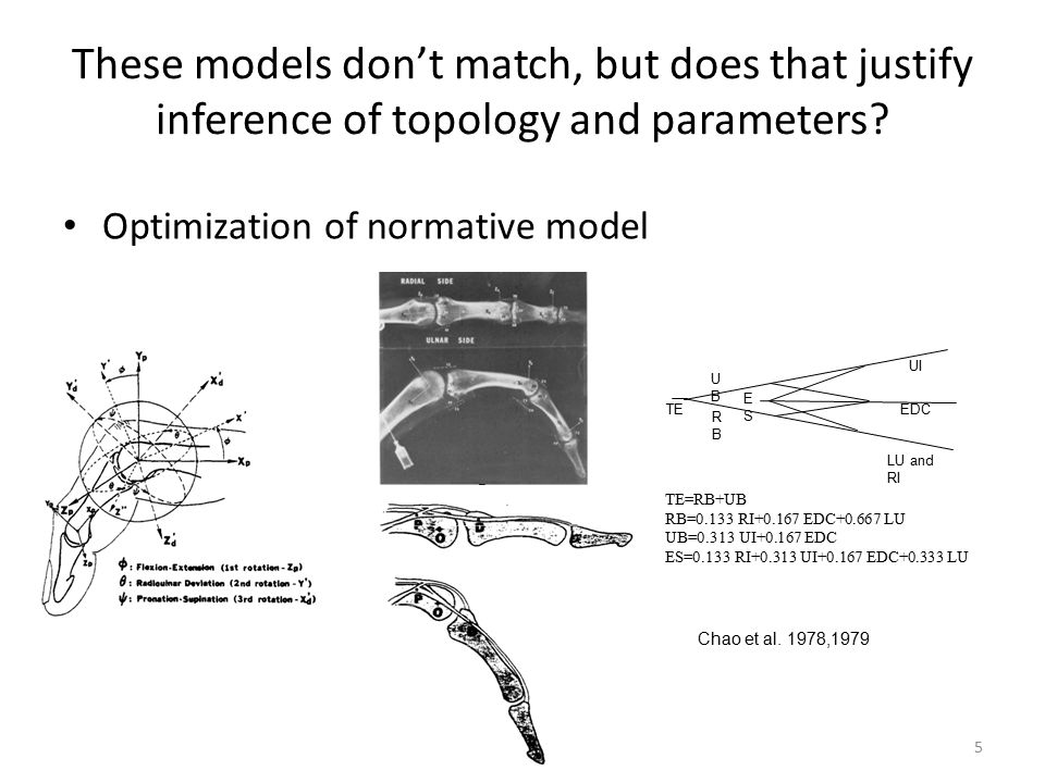These models don't match, but does that justify inference of topology and parameters? Optimization of normative model 5 TE=RB+UB RB=0.133 RI+0.167 EDC