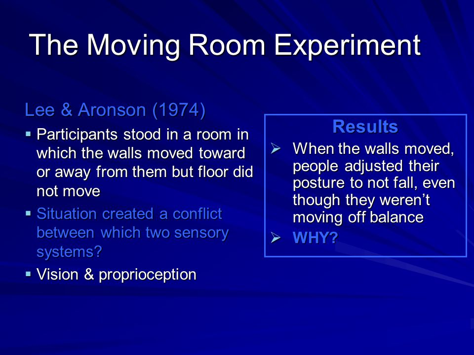 The Moving Room Experiment Lee & Aronson (1974)  Participants stood in a room in which the walls moved toward or away from them but floor did not mov