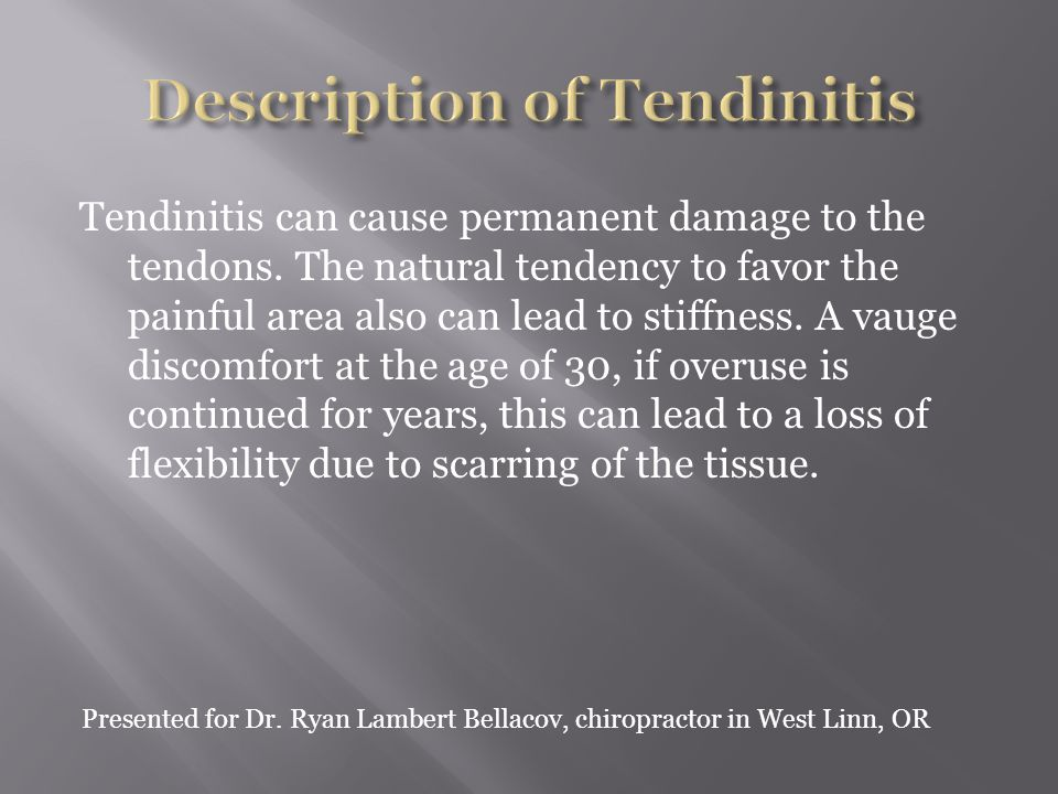 There are three types of knee tendinitis: 1.