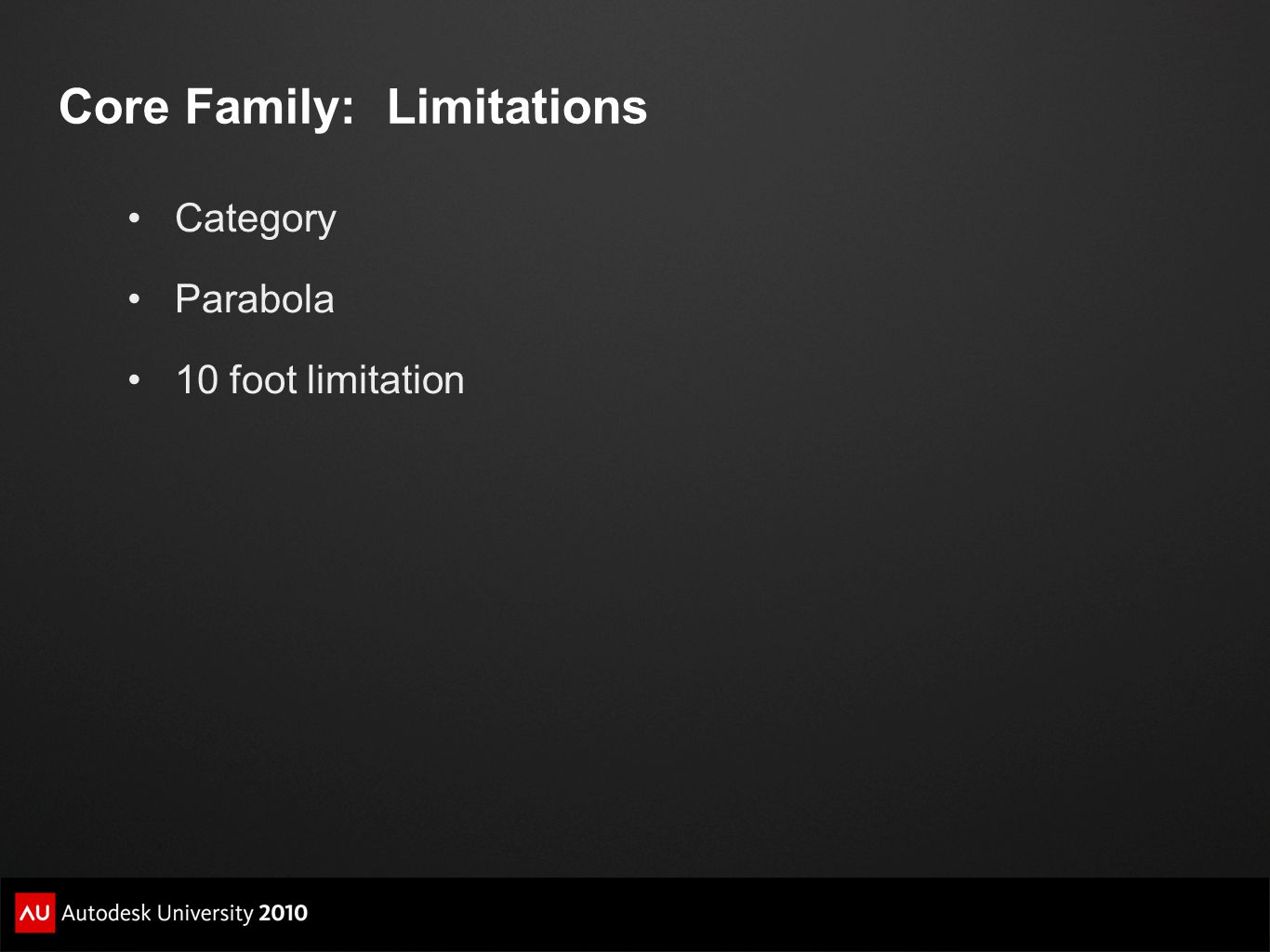Core Family: Limitations Category Parabola 10 foot limitation