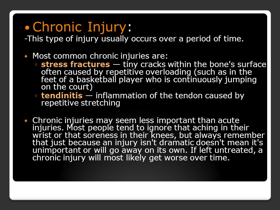 Chronic Injury Jordan Deubner, Jackie Silva, Jarrius Russell