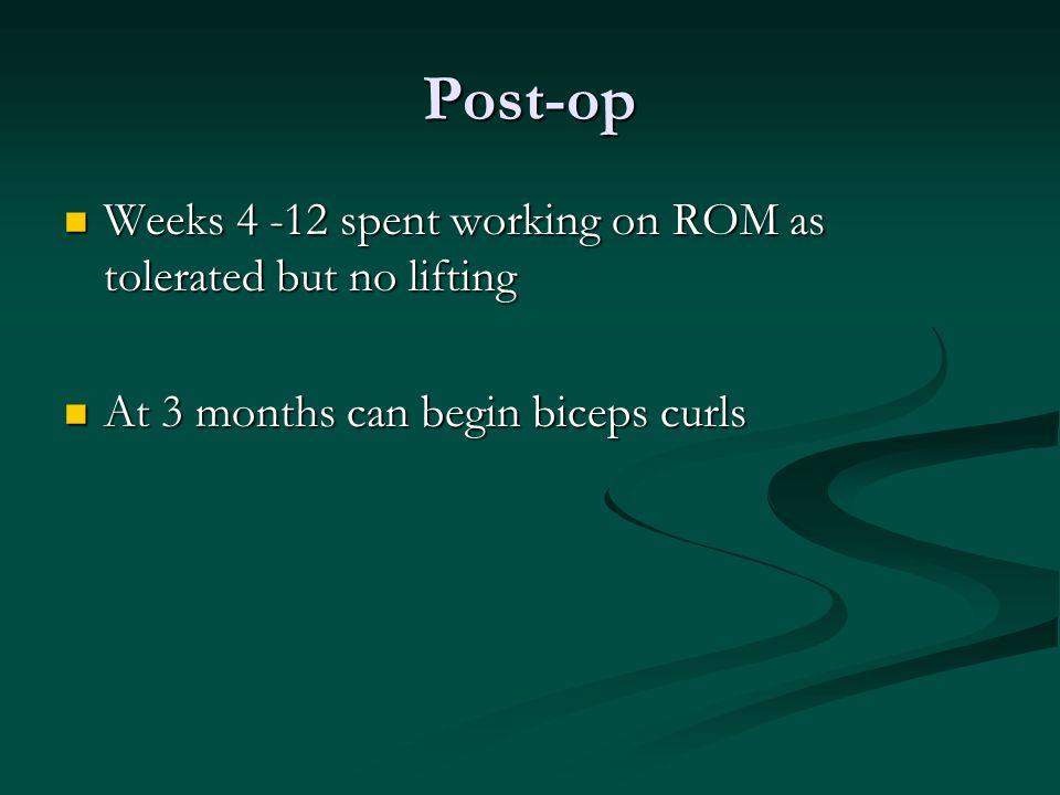 Post-op Weeks 4 -12 spent working on ROM as tolerated but no lifting Weeks 4 -12 spent working on ROM as tolerated but no lifting At 3 months can begi