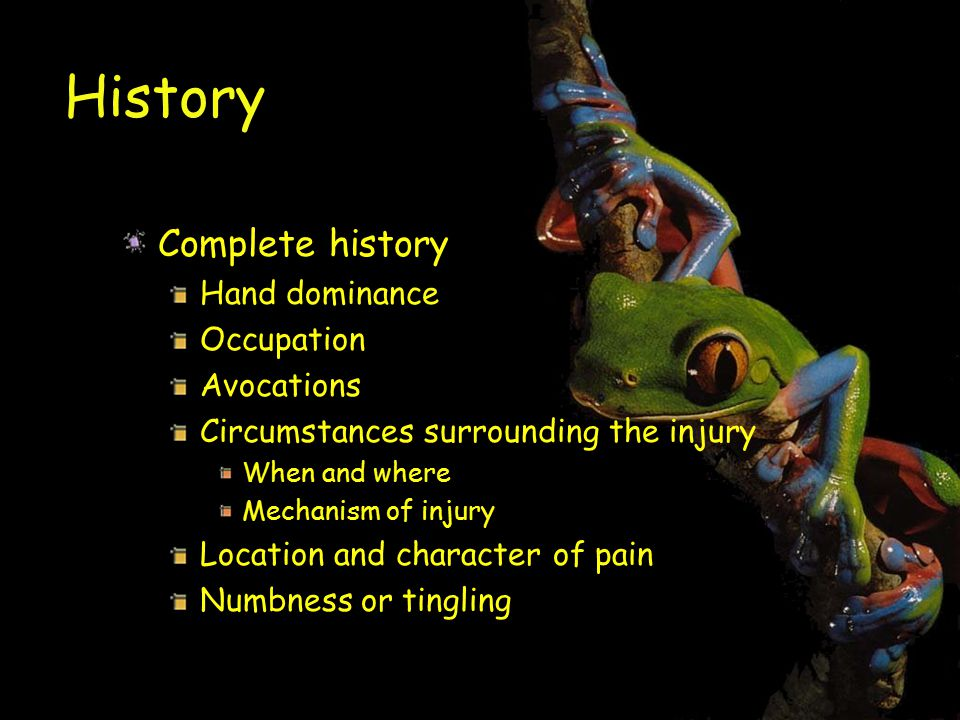 History Complete history Hand dominance Occupation Avocations Circumstances surrounding the injury When and where Mechanism of injury Location and character of pain Numbness or tingling