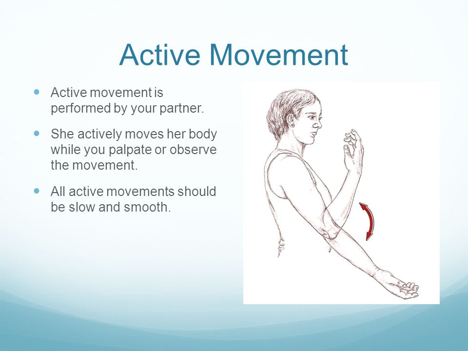 Passive Movement Passive movement is the opposite of active movement.