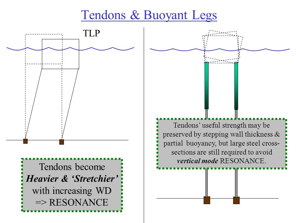 Tendons & Buoyant Legs TLP Tendons become Heavier & 'Stretchier' with increasing WD => RESONANCE Tendons' useful strength may be preserved by stepping