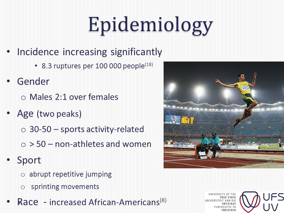Epidemiology Incidence increasing significantly 8.3 ruptures per 100 000 people (18) Gender o Males 2:1 over females Age (two peaks) o 30-50 – sports activity-related o > 50 – non-athletes and women Sport o abrupt repetitive jumping o sprinting movements Race - increased African-Americans (8)