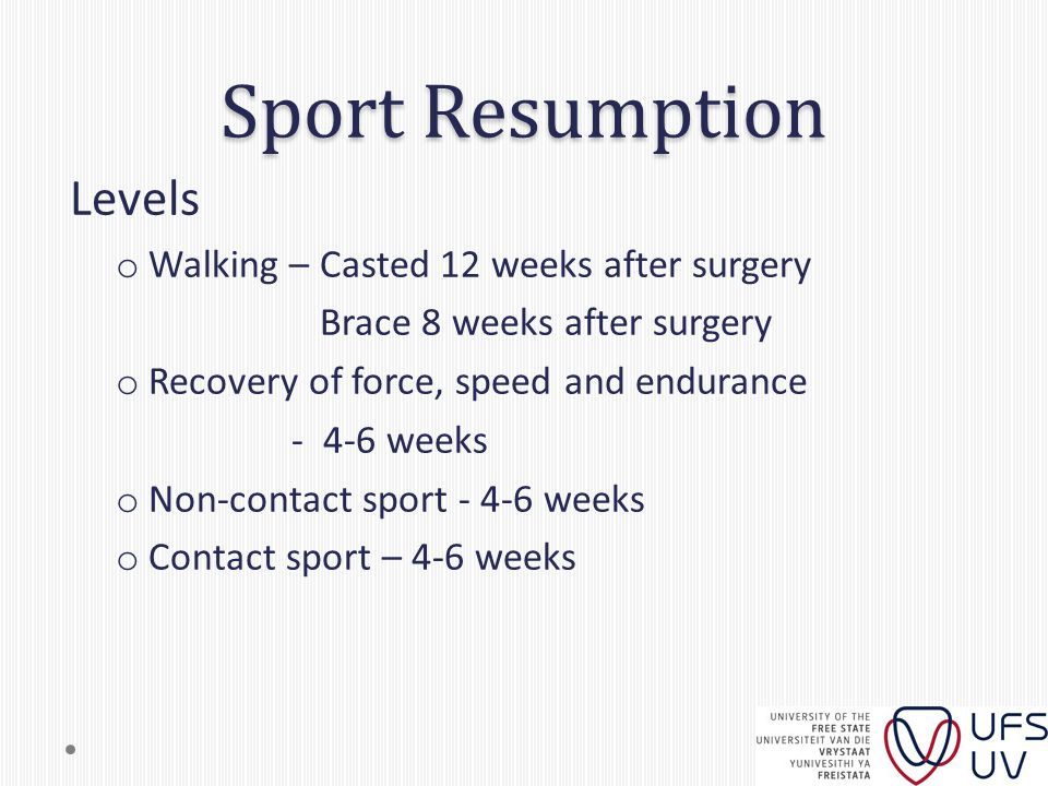 Sport Resumption Levels o Walking – Casted 12 weeks after surgery Brace 8 weeks after surgery o Recovery of force, speed and endurance - 4-6 weeks o Non-contact sport - 4-6 weeks o Contact sport – 4-6 weeks