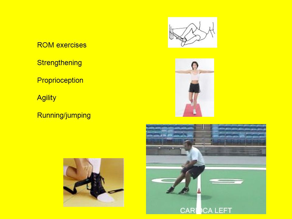 ROM exercises Strengthening Proprioception Agility Running/jumping
