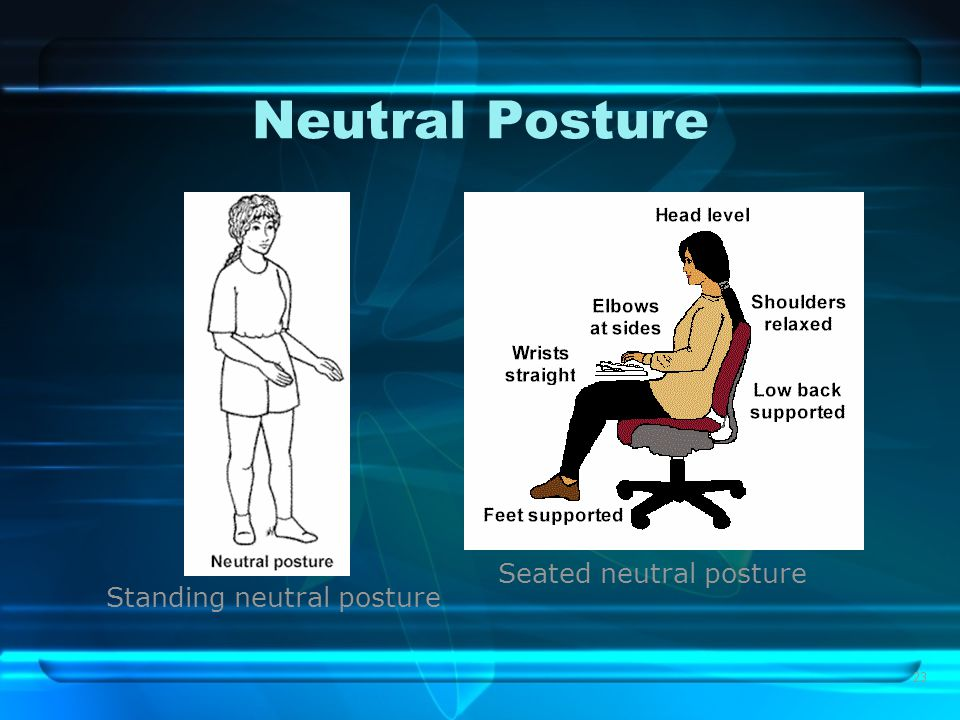 23 Neutral Posture Standing neutral posture Seated neutral posture