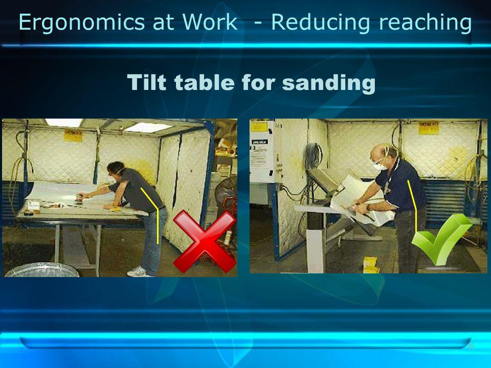 35 Tilt table for sanding Ergonomics at Work - Reducing reaching