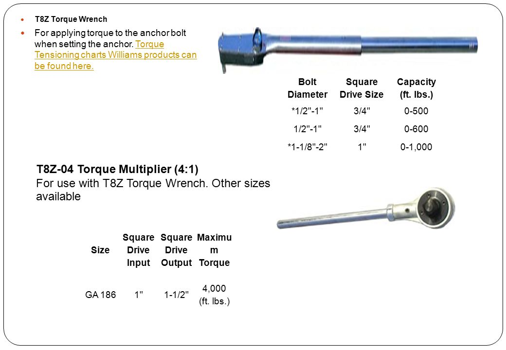 T8Z Torque Wrench For applying torque to the anchor bolt when setting the anchor. Torque Tensioning charts Williams products can be found here.Torque