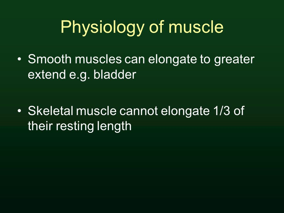 Physiology of muscle Smooth muscles can elongate to greater extend e.g.