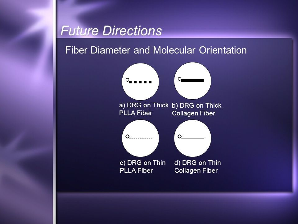 Future Directions a) DRG on Thick PLLA Fiber b) DRG on Thick Collagen Fiber c) DRG on Thin PLLA Fiber d) DRG on Thin Collagen Fiber Fiber Diameter and Molecular Orientation