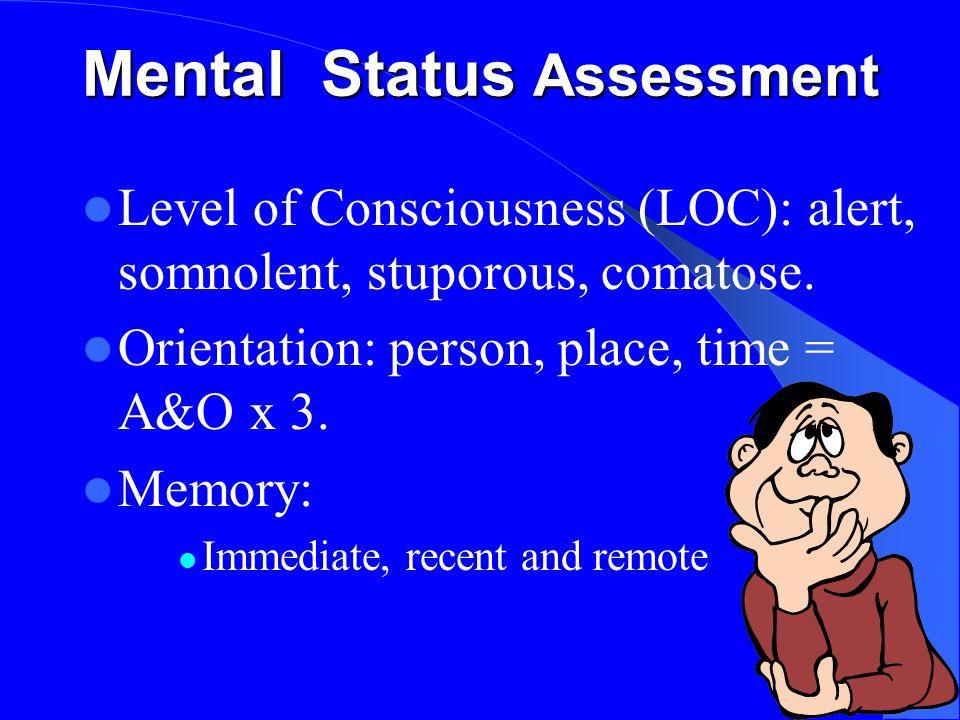 Mental Status Assessment Level of Consciousness (LOC): alert, somnolent, stuporous, comatose.