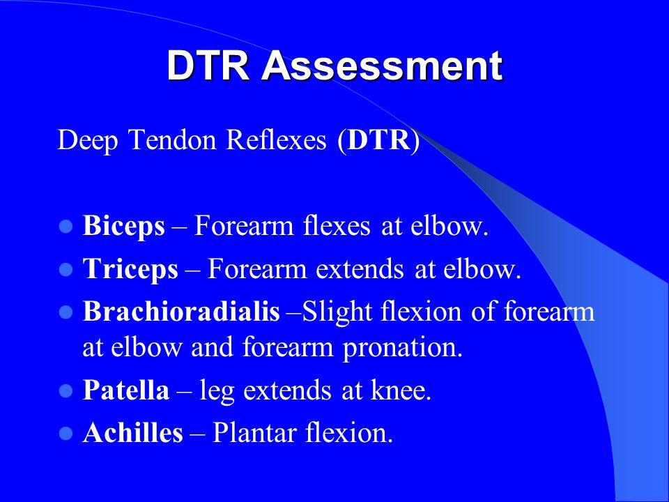 DTR Assessment Deep Tendon Reflexes (DTR) Biceps – Forearm flexes at elbow.