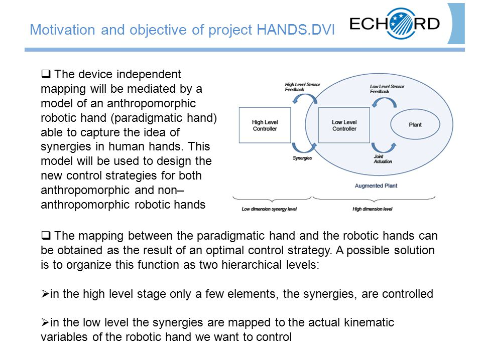  The mapping between the paradigmatic hand and the robotic hands can be obtained as the result of an optimal control strategy. A possible solution is