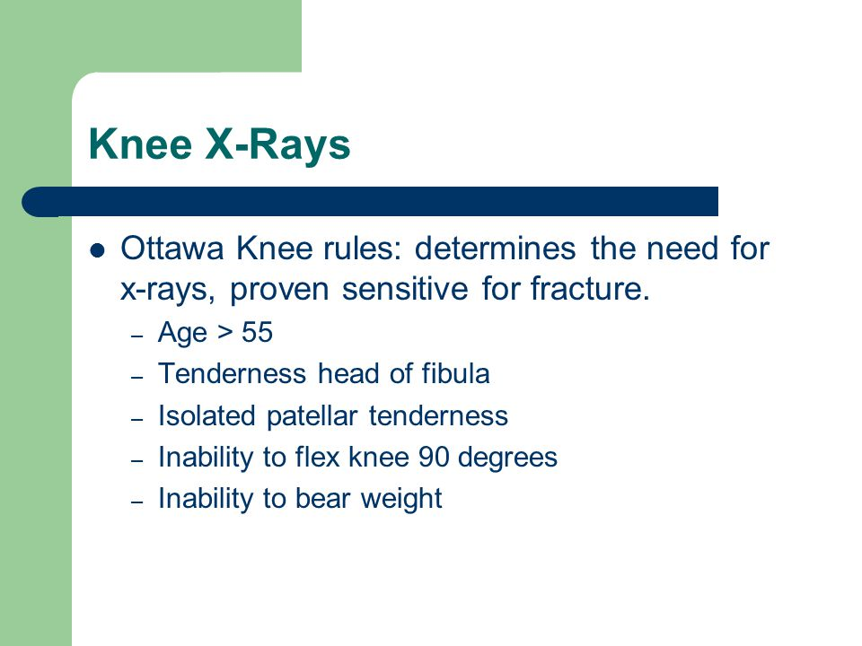 Knee Ligaments Tx: Stable injuries involving only one ligament w/minor strain can be treated w/knee immobilizer, ice packs, elevation, NSAIDS, ambulation that is comfortable for the pt.