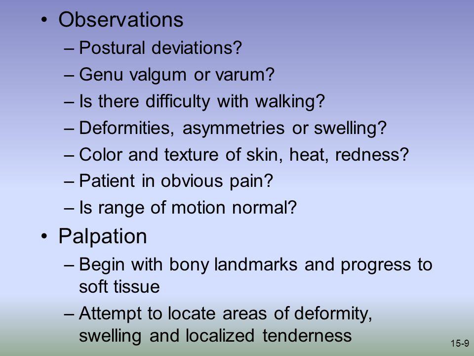 15-9 Observations –Postural deviations. –Genu valgum or varum.