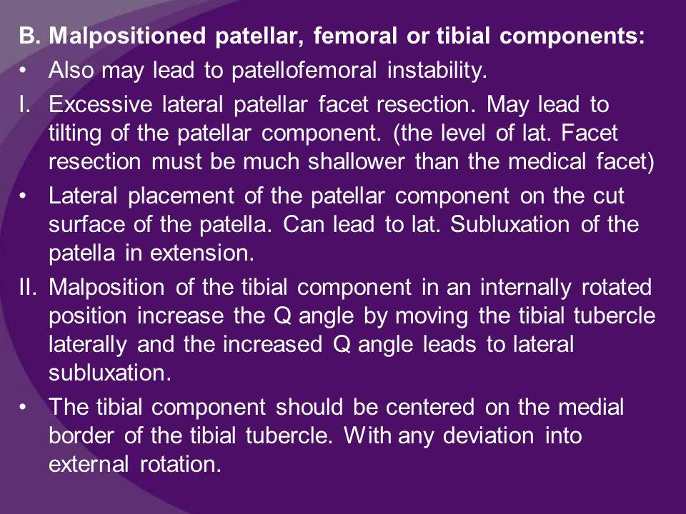 Patellar component loosening: Predisposing factors are: 1.Deficient bone stock 2.Component malposition and subluxation 3.Patellar fracture 4.Osteonecrosis of the patella 5.Loosening of other knee components.