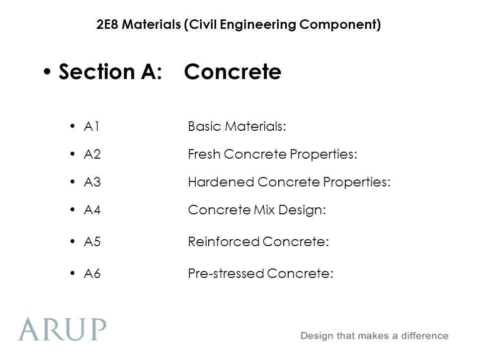 2E8 Materials (Civil Engineering Component) Section A:Concrete A1Basic Materials: A2Fresh Concrete Properties: A3Hardened Concrete Properties: A4Concr