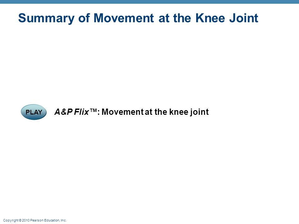 Copyright © 2010 Pearson Education, Inc. Summary of Movement at the Knee Joint PLAY A&P Flix™: Movement at the knee joint