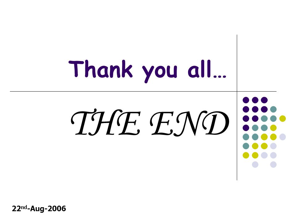 Thank you all… THE END 22 nd -Aug-2006