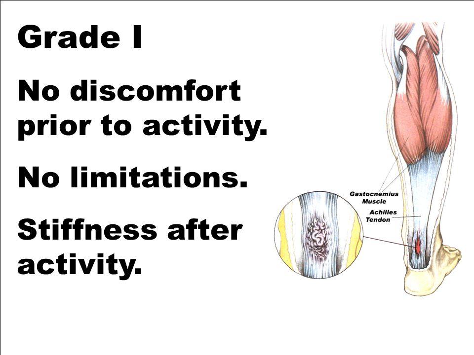 Grade I No discomfort prior to activity. No limitations. Stiffness after activity.