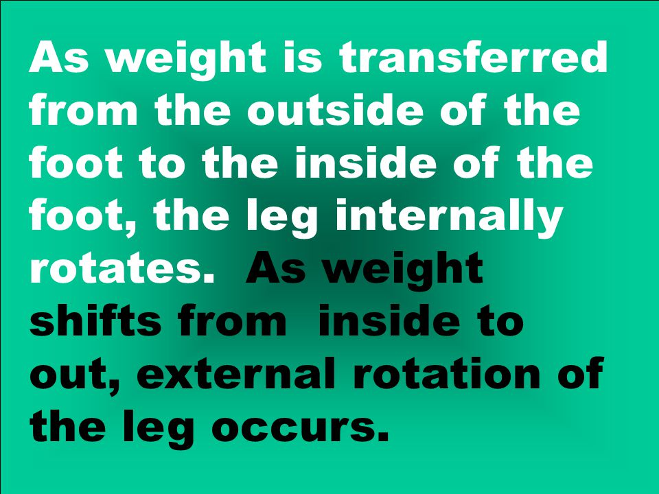 As weight is transferred from the outside of the foot to the inside of the foot, the leg internally rotates.