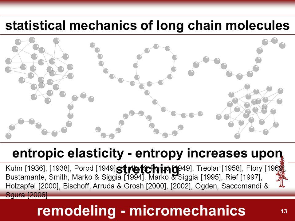 13 remodeling - micromechanics statistical mechanics of long chain molecules Kuhn [1936], [1938], Porod [1949], Kratky & Porod [1949], Treolar [1958], Flory [1969], Bustamante, Smith, Marko & Siggia [1994], Marko & Siggia [1995], Rief [1997], Holzapfel [2000], Bischoff, Arruda & Grosh [2000], [2002], Ogden, Saccomandi & Sgura [2006] entropic elasticity - entropy increases upon stretching