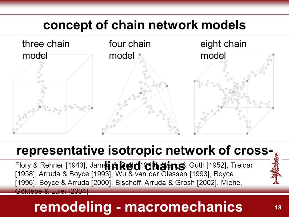 18 remodeling - macromechanics concept of chain network models Flory & Rehner [1943], James & Guth [1943], Wang & Guth [1952], Treloar [1958], Arruda & Boyce [1993], Wu & van der Giessen [1993], Boyce [1996], Boyce & Arruda [2000], Bischoff, Arruda & Grosh [2002], Miehe, Göktepe & Lulei [2004] representative isotropic network of cross- linked chains eight chain model four chain model three chain model