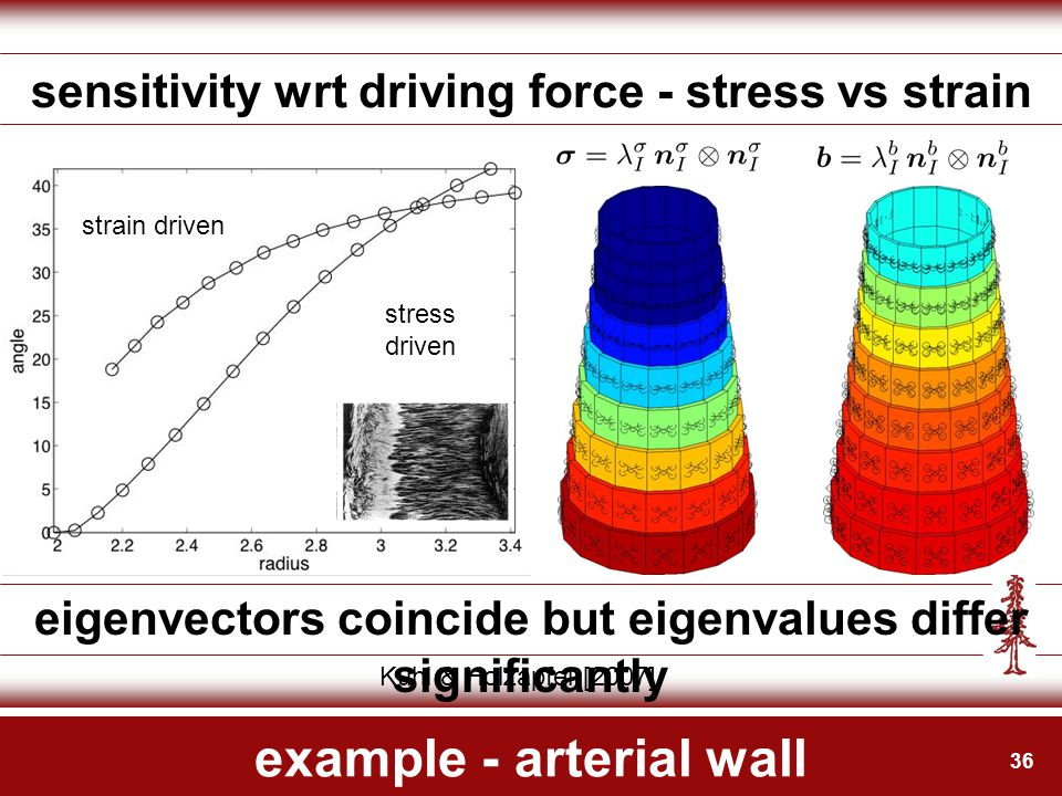 36 example - arterial wall sensitivity wrt driving force - stress vs strain eigenvectors coincide but eigenvalues differ significantly Kuhl & Holzapfe