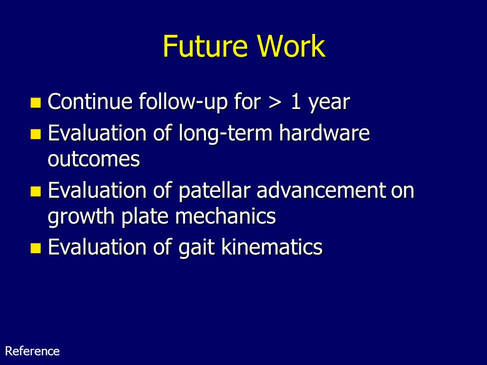 Future Work Continue follow-up for > 1 year Continue follow-up for > 1 year Evaluation of long-term hardware outcomes Evaluation of long-term hardware