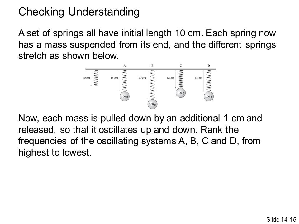 Checking Understanding A set of springs all have initial length 10 cm.