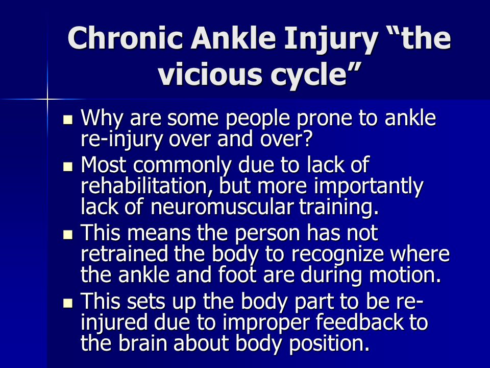 """Chronic Ankle Injury """"the vicious cycle"""" Why are some people prone to ankle re-injury over and over? Why are some people prone to ankle re-injury over"""