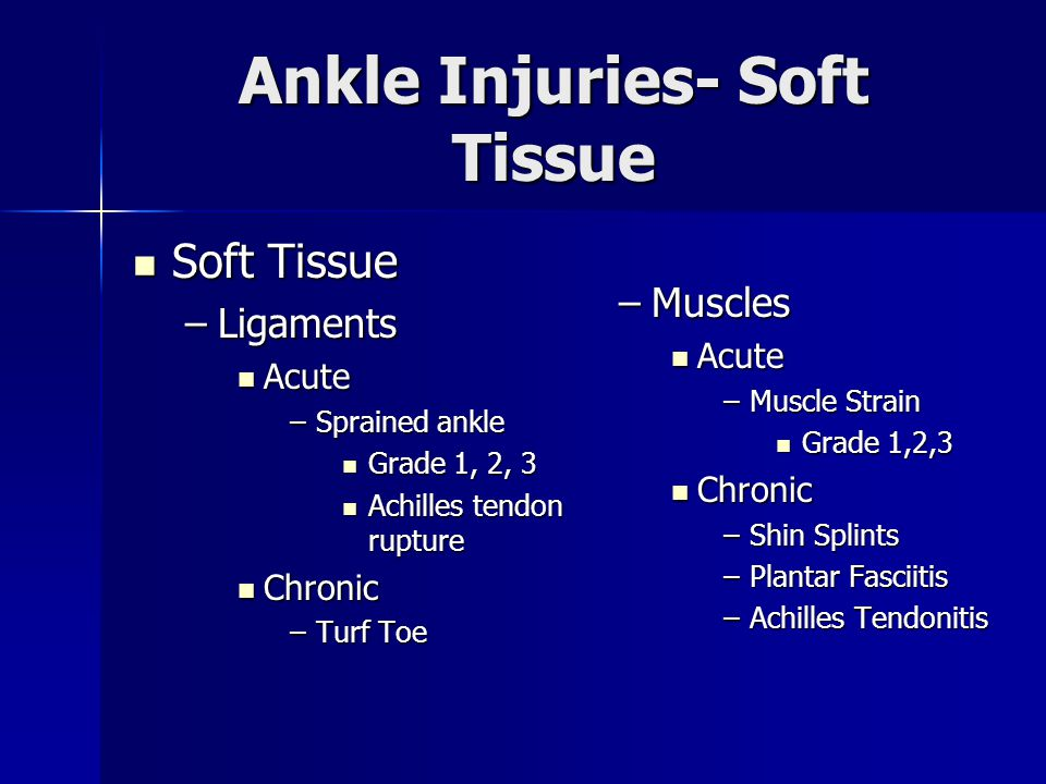 Inversion Ankle Sprain 85% of sprains are caused by ankle inversion.