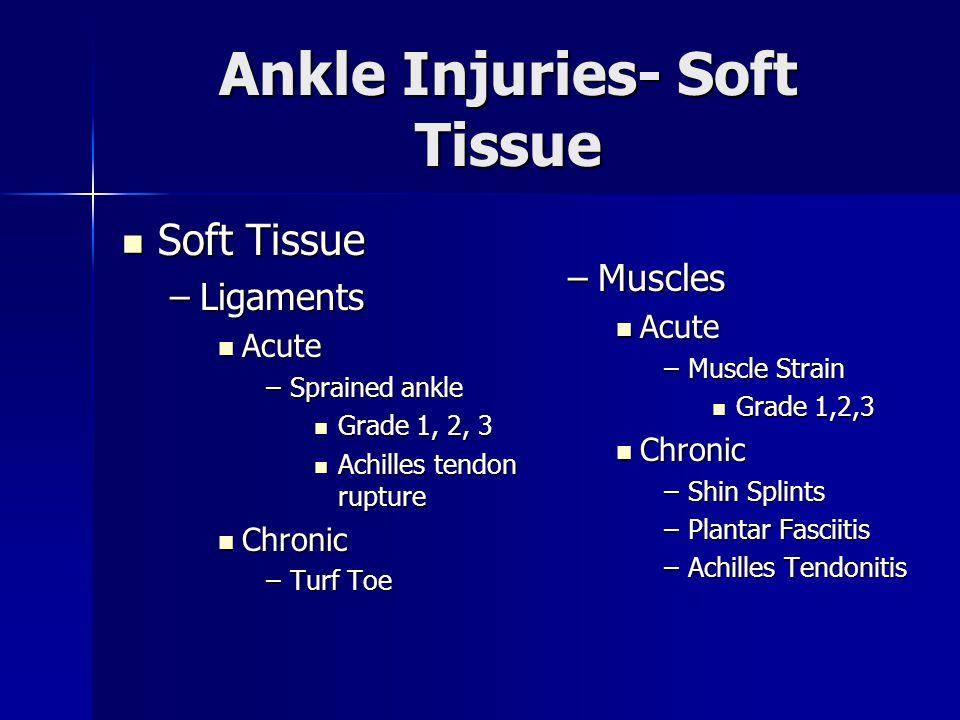 Soft Tissue Soft Tissue –Ligaments Acute Acute –Sprained ankle Grade 1, 2, 3 Grade 1, 2, 3 Achilles tendon rupture Achilles tendon rupture Chronic Chr