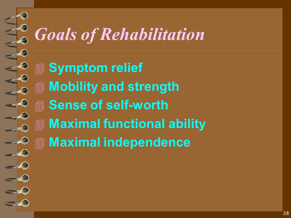 38 Goals of Rehabilitation 4 4 Symptom relief 4 4 Mobility and strength 4 4 Sense of self-worth 4 4 Maximal functional ability 4 4 Maximal independence