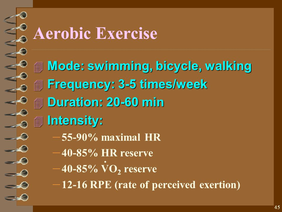45 Aerobic Exercise 4 Mode: swimming, bicycle, walking 4 Frequency: 3-5 times/week 4 Duration: 20-60 min 4 Intensity: – 55-90% maximal HR – 40-85% HR reserve – 40-85% VO 2 reserve – 12-16 RPE (rate of perceived exertion).