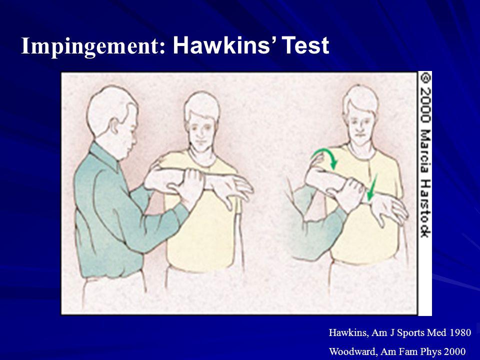 Impingement: Hawkins' Test Hawkins, Am J Sports Med 1980 Woodward, Am Fam Phys 2000