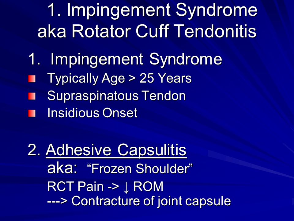 1. Impingement Syndrome aka Rotator Cuff Tendonitis 1.