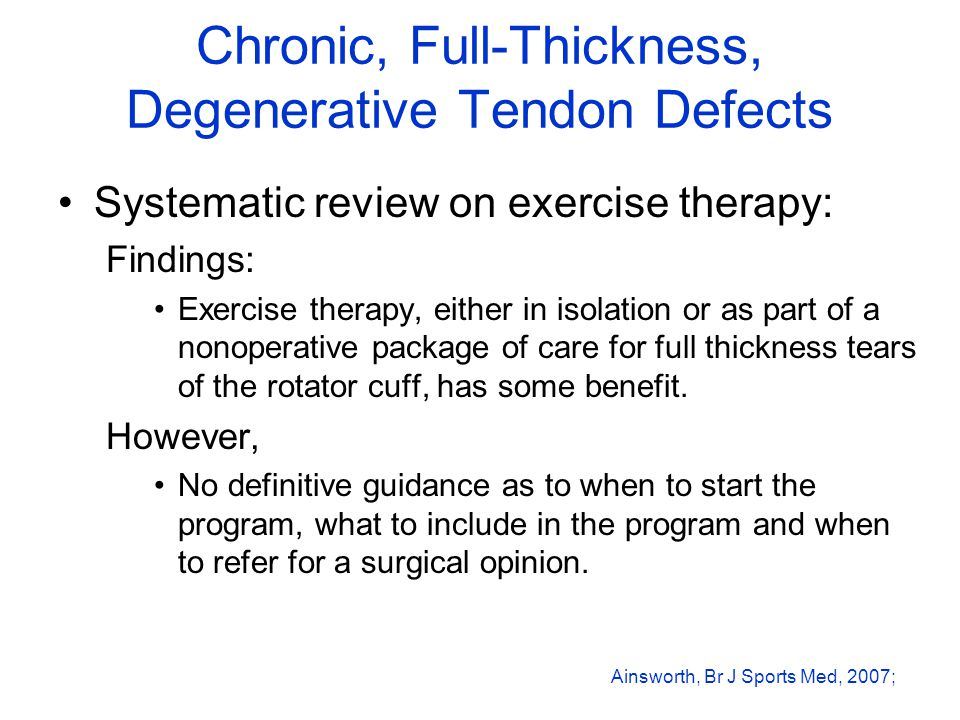 Chronic, Full-Thickness, Degenerative Tendon Defects Systematic review on exercise therapy: Findings: Exercise therapy, either in isolation or as part of a nonoperative package of care for full thickness tears of the rotator cuff, has some benefit.