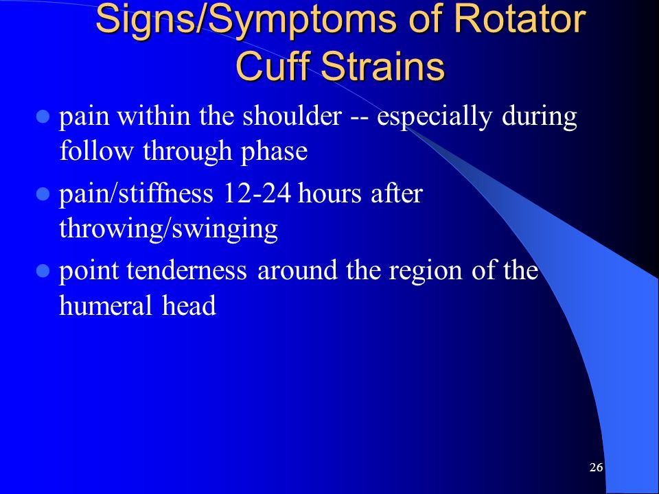 25 Rotator Cuff Strains Muscles of the cuff - GHJ --- abduction, internal and external rotation dynamic stabilizers ( cuff ) SITS – Supraspinatus – Infraspinatus – Teres Minor – Subscapularis