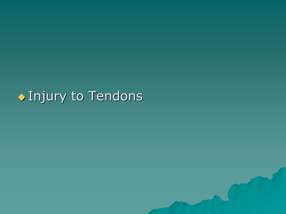  Injury to Tendons