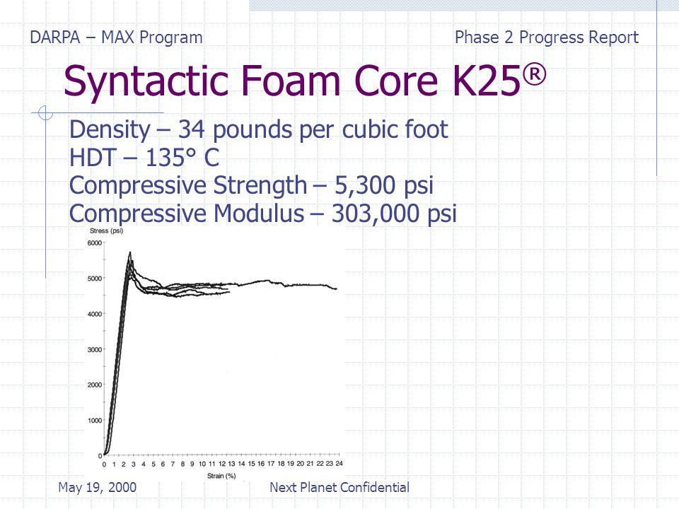 DARPA – MAX ProgramPhase 2 Progress Report May 19, 2000Next Planet Confidential Syntactic Foam Core K25 ® Density – 34 pounds per cubic foot HDT – 135° C Compressive Strength – 5,300 psi Compressive Modulus – 303,000 psi
