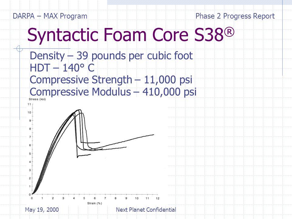 DARPA – MAX ProgramPhase 2 Progress Report May 19, 2000Next Planet Confidential Syntactic Foam Core S38 ® Density – 39 pounds per cubic foot HDT – 140° C Compressive Strength – 11,000 psi Compressive Modulus – 410,000 psi